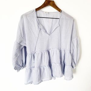 Lucky brand striped flowy blouse